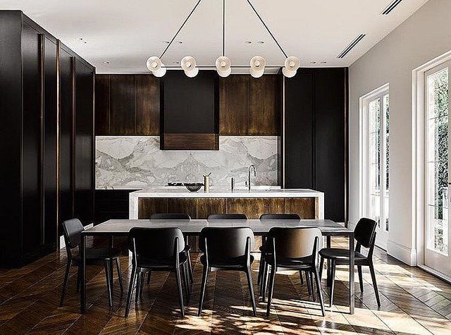 Modern kitchen with dark cabinet colors