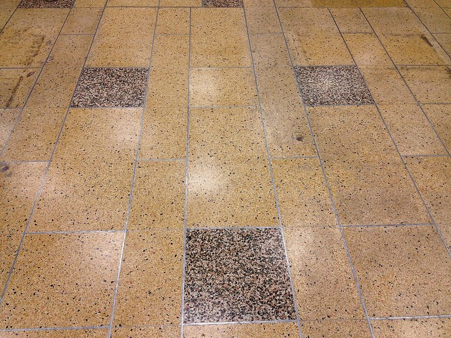 Nicely constructed and polished terrazzo floor.